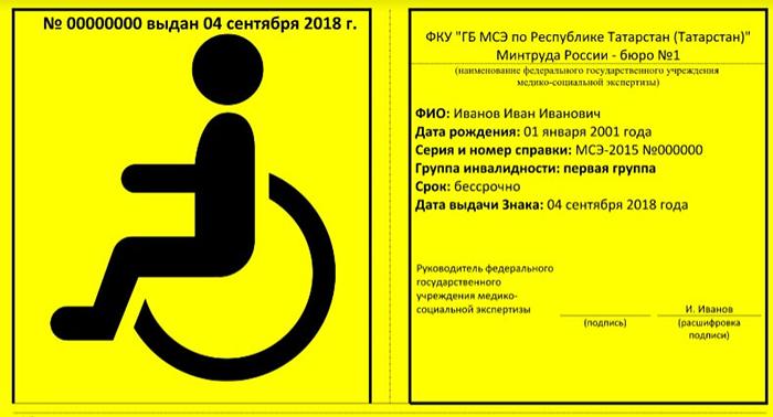 Знак инвалид 2018